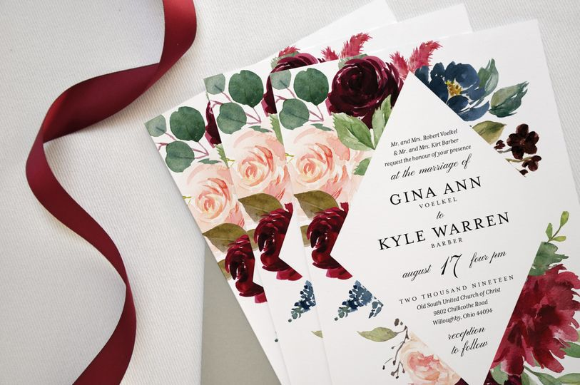 Burgundy Floral Invitation