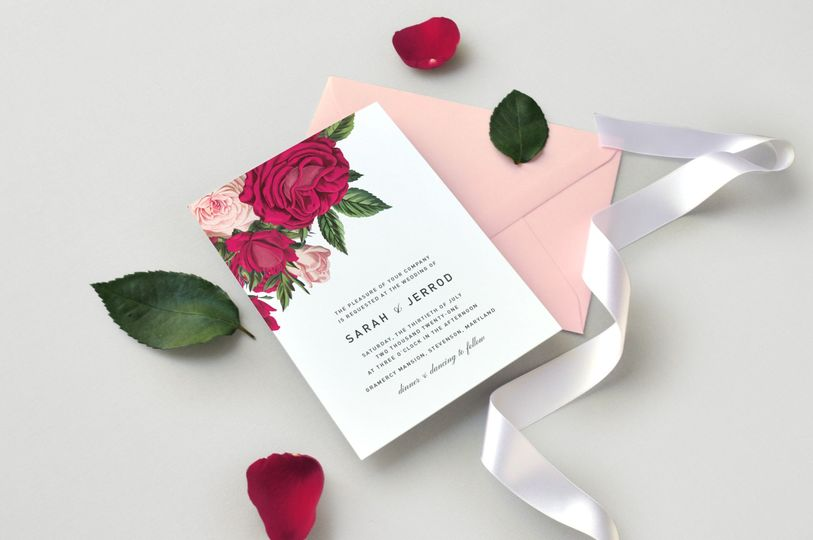 Burgundy Blush Rose Invitation
