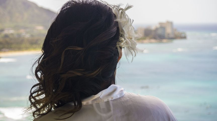 Bride admiring the ocean