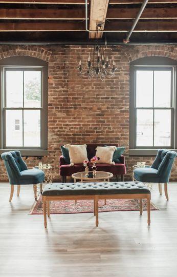 Lounge under chandelier