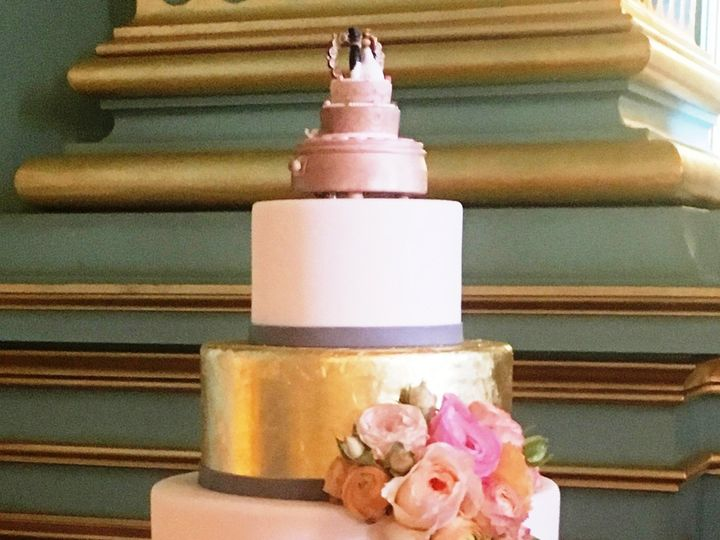 Tmx 1507251640554 Pink And Gold Wrapped Cake On Gold Stand Sf Green  Corte Madera wedding cake