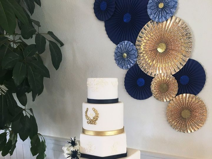 Tmx 1507251718941 Wrapped Five Tiers With Monogram Blue Bands Bows A Corte Madera wedding cake