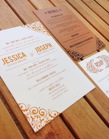 White and brown invitation