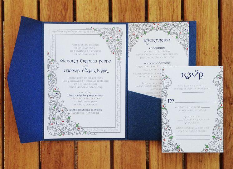 Blue motif invitation