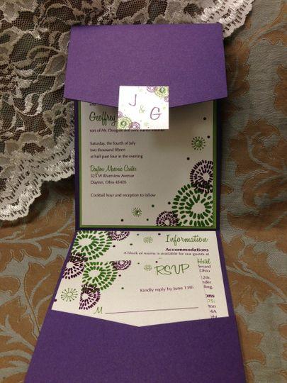 Violet envelope invitation