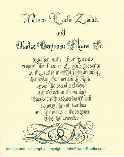 copyrightFilyawDisplayWeddingInvitationinCalligraphy