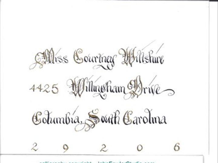 Tmx 1335927937835 Copyright2calligrapheraddressedweddingenvelopeAddEnvBlackandGold2 Florence wedding invitation