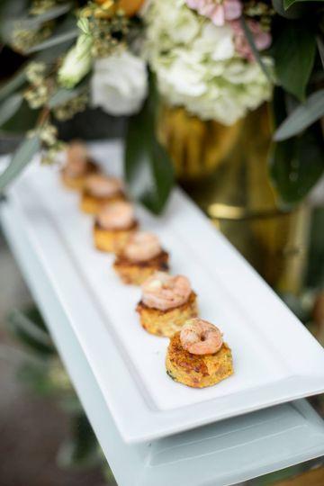 Shrimp on Grit cakes