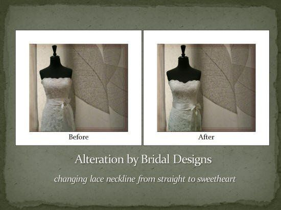 Our talented bridal alterations take care our brides after the dress purchases. The one changed...