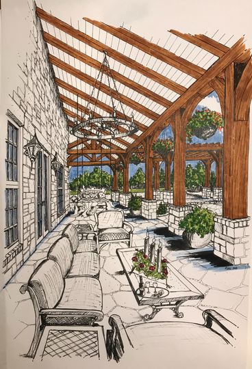 Veranda with comfotable seating