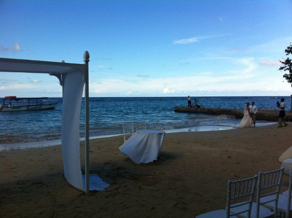 Beach wedding setup in Jamaica