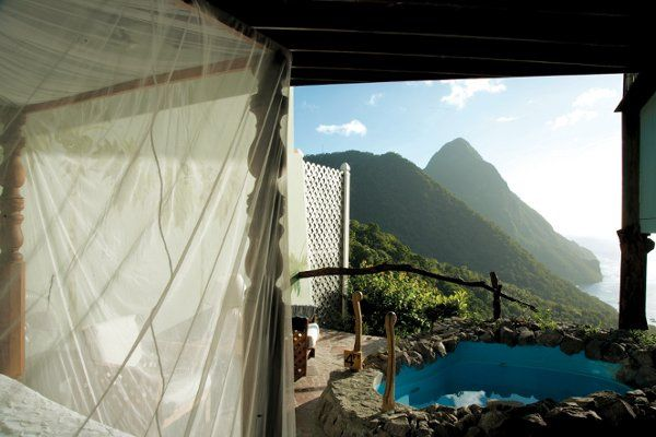 Private infinity pool with stunning views of the Pitons in St. Lucia