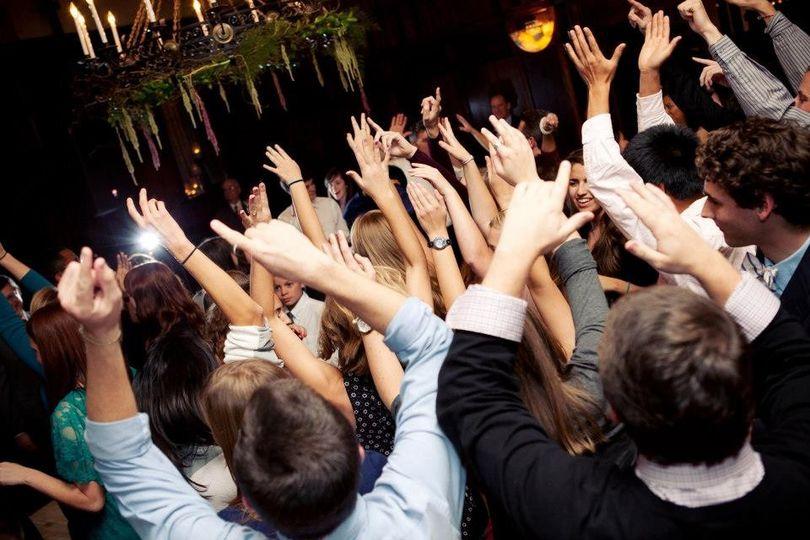 All raising hand