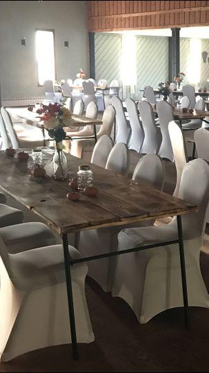 Burnt wood farm style tables