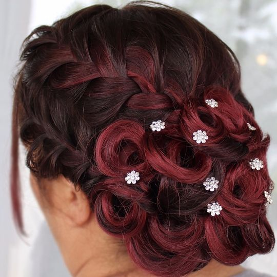 Braids and pin curl updo