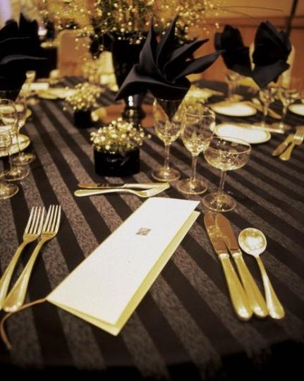 Place setting during wedding reception.