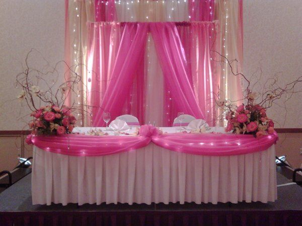 Bride and Grooms Table at Wedding Reception