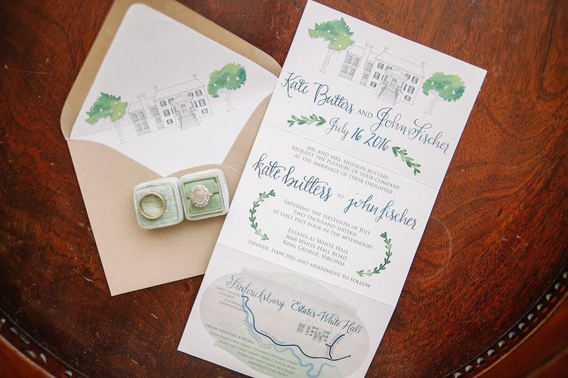 Accordion fold watercolor invitation with hand drawn venue illustration