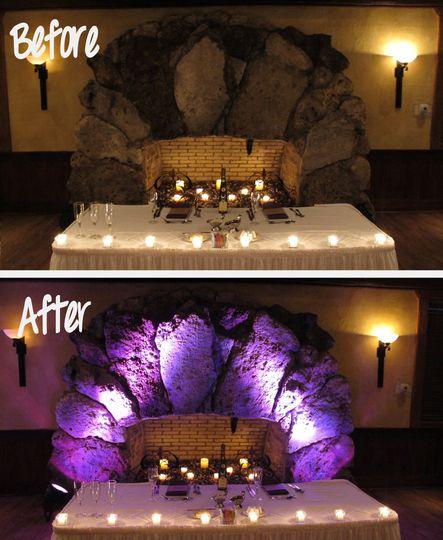 before after wedding lighting dubsdread