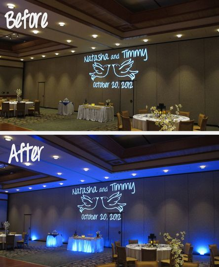 before after wedding lighting shades of green
