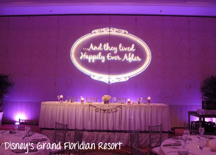 grand floridian wedding lighting purple