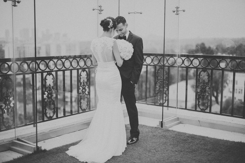 black and white bride and groom
