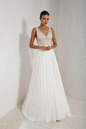 A-line dress with V-neckline