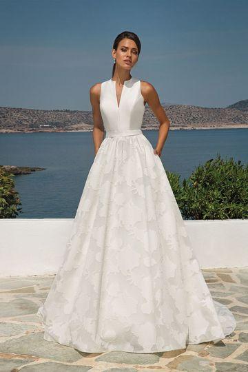 A-line dress with high neckline