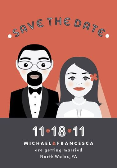 For our Save the Date card, we created custom illustrations of the bride and groom, including the...