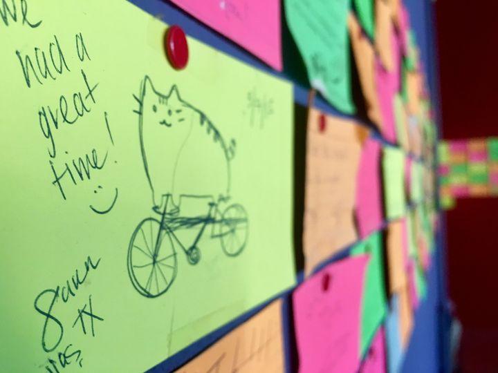 Hand written review wall