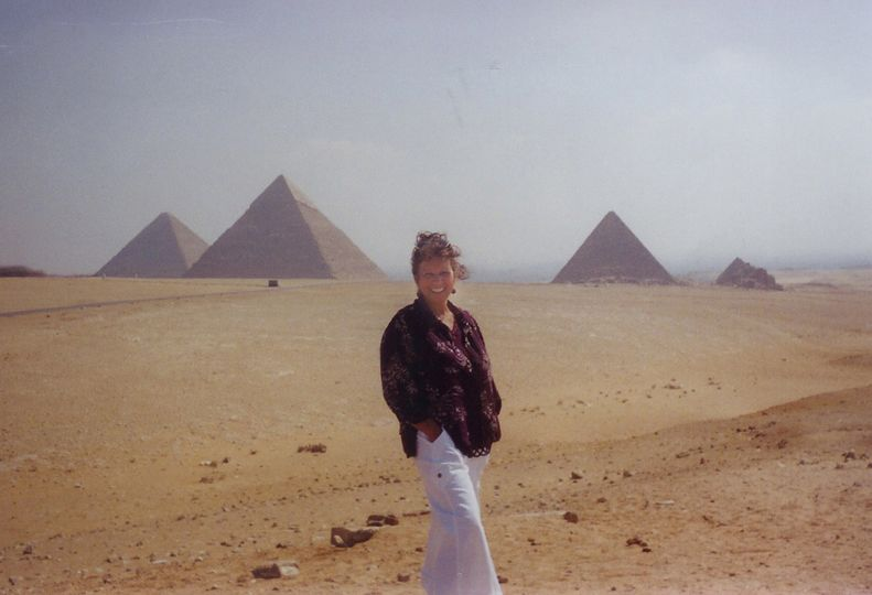 in front of pyramid