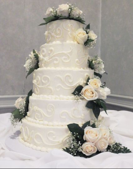 Multiple tiered buttercream cake at
