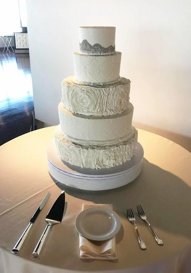 Buttercream tiered cake at the ivory room in downtown columbus