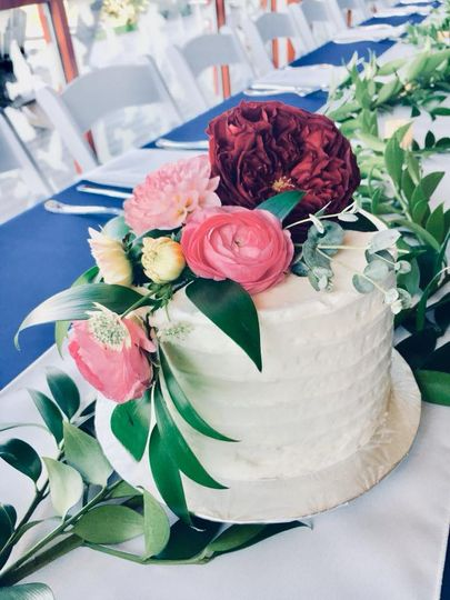 Cascading floral cutting cake