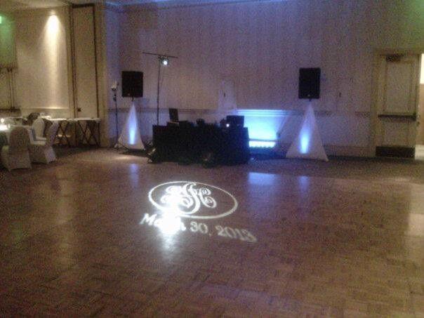 Custom Monogram on the dancefloor and up lighting