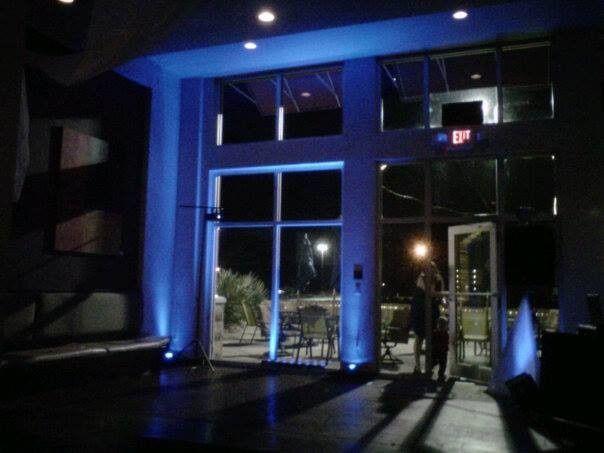 Blue up lighting at Zen's in Orange Beach