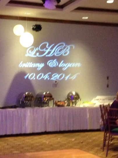 Custom monogram at a wedding reception at the Tiger Point Country Club in Gulf Breeze.