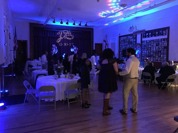 Wedding reception at the Molino Community Center. We provided the up lighting you see, the custom...