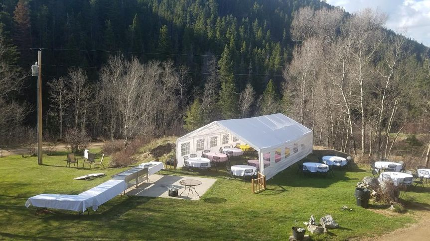 Event tent on manicured lawns