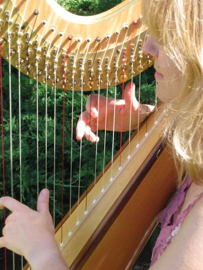 Santa Barbara Courthouse Sunken Gardens wedding with harp.