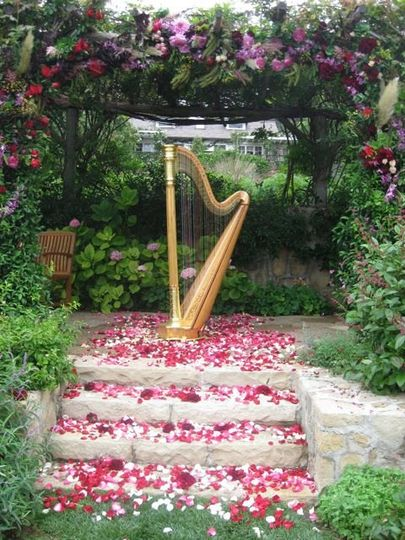 The garden at San Ysidro Ranch is perfectly romantic with birds singing, flowers blooming and harp...