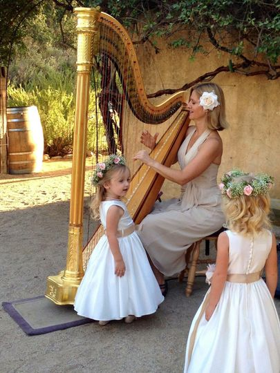 Harp music enchants a late summer wedding at Sunstone Winery.
