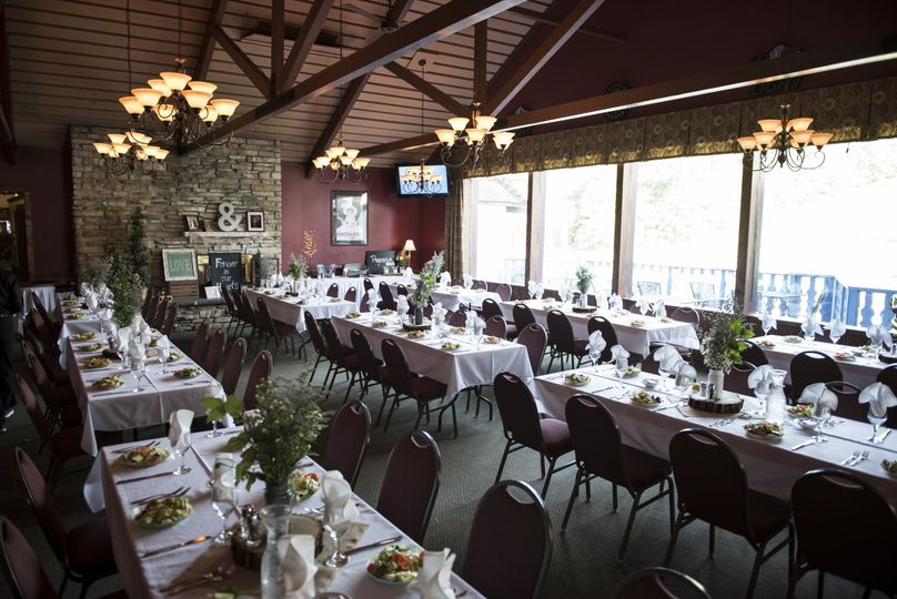 Wedding Reception in Alpine Valley Resort Bar! The seating was for 200 People!! Rectangle tables...
