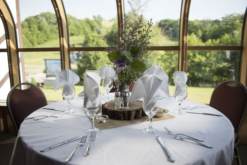 Up close table setup for Wedding reception at Alpine Valley Resorts Bar! Beautiful outlook from...
