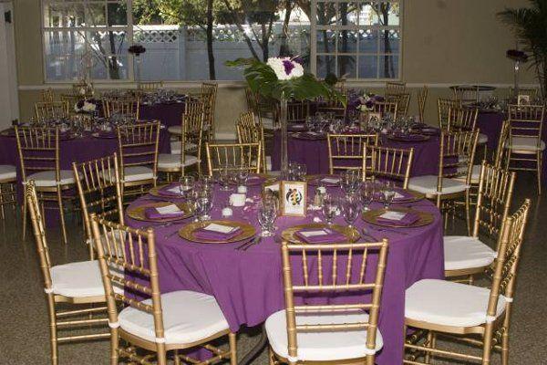 Table centerpiece and purple linen