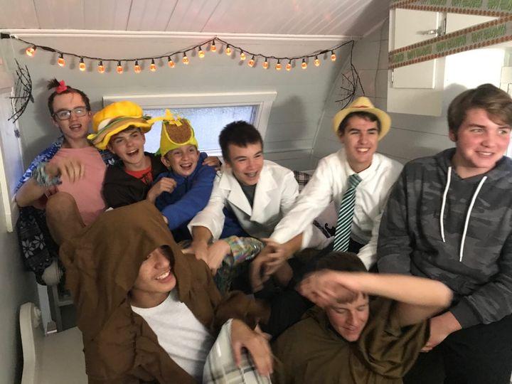 Teens enjoying the booth
