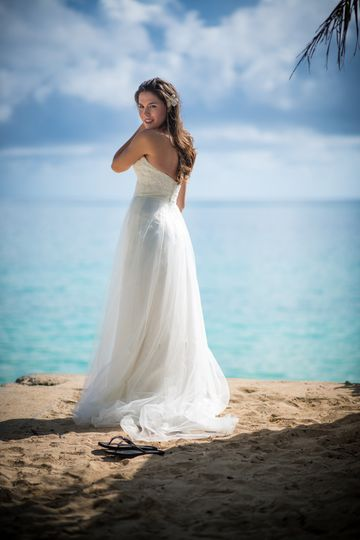 Bride In Hawaii at the Beach for A destination portrait session for him