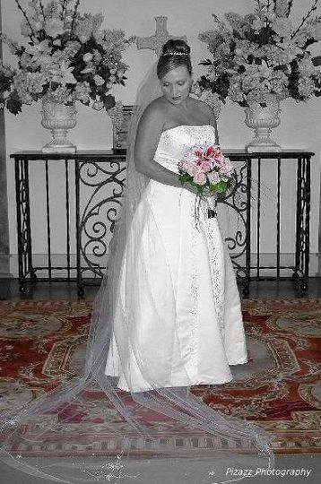 humbled bride with color and black and white