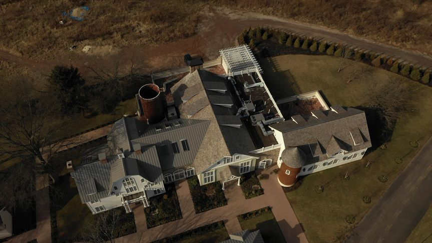 Drone footage of wedding venue