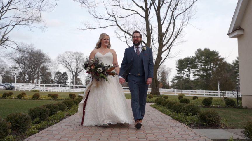 Wedding couple walking outside